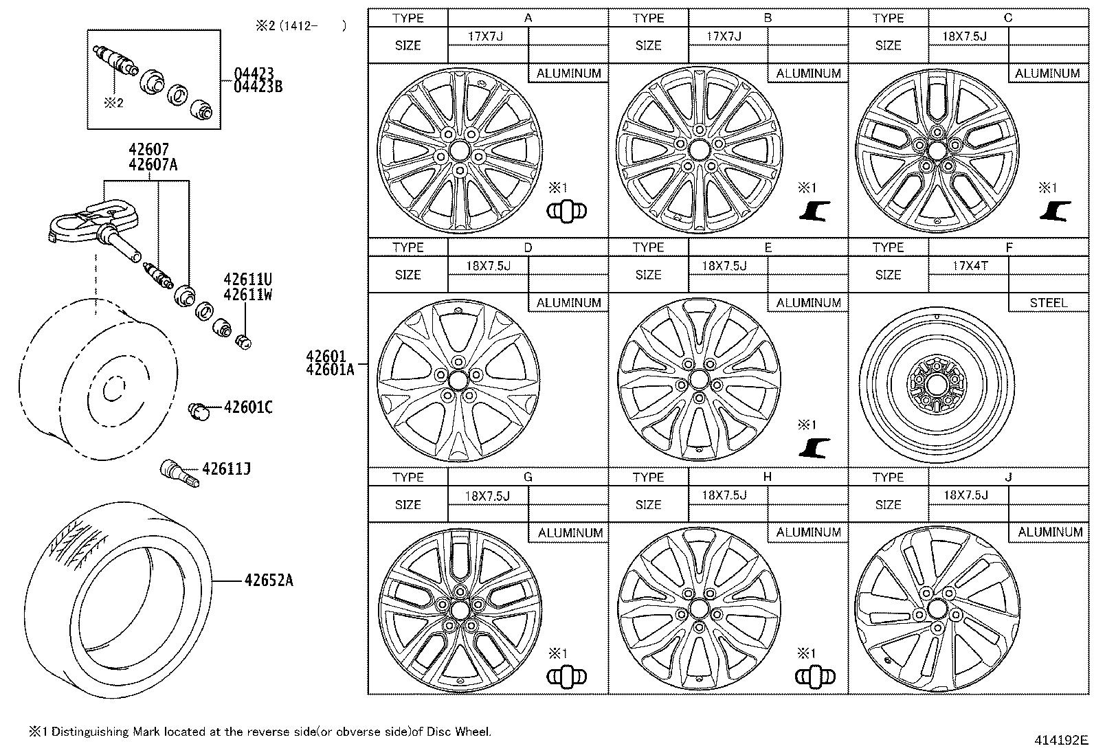 Diagram DISC WHEEL & WHEEL CAP for your Lexus NX 200t